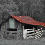 Rural Red - Red Roof Barn Rustic Country Rural Art Print