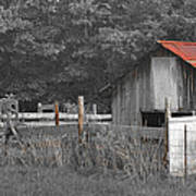 Rural Serenity Black And White Version - Red Roof Barn Rustic Country Rural Art Print