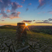 Rushup Edge From Mam Tor Summit Sunset Art Print
