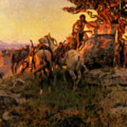 Russell Charles Marion Watching For Wagons Art Print