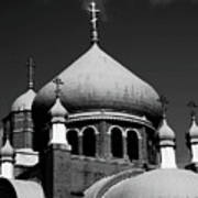 Russian Orthodox Church Bw Art Print