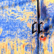 Rusted Blue And Yellow Door Art Print