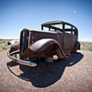 Rusted Old Car On Route 66 Art Print