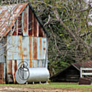 Rusted Tin Shed In Burnt Corn Art Print
