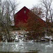 Rustic Barn By The Frozen Lake Art Print