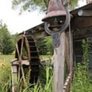 Rustic Bell And Waterwheel Art Print