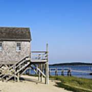 Rustic Boathouse On The Beach. Art Print
