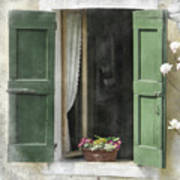 Rustic Open Window With Green Shutters Art Print