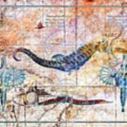 Rustic Seahorse Art Print