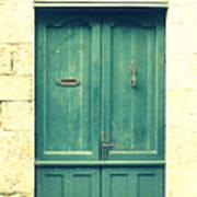 Rustic Teal Green Door Print by Georgia Fowler