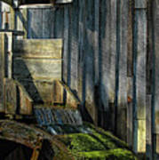 Rustic Water Wheel With Moss Art Print