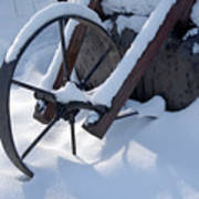 Rustic Wheel In The Snow#2 Art Print