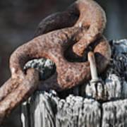 Rusty Iron Chain Railing Fragment Art Print