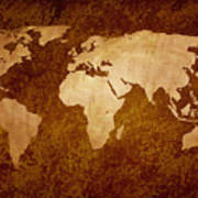 Vintage World Map Art.Rusty Vintage World Map Digital Art By Art Spectrum
