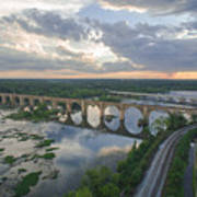 Rva Sunset Train Bridge Style Art Print