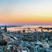 Rye, New Hampshire Sunrise Cairns Art Print