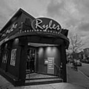 Ryles Jazz Club Cambridge Ma Inman Square Hampshire Street Black And White Art Print