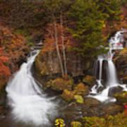 Ryuzu Falls Near Nikko In Japan In Autumn Art Print
