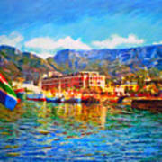 Sa Flag At The Waterfront Art Print