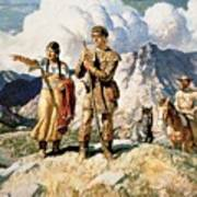 Sacagawea With Lewis And Clark During Their Expedition Of 1804-06 Art Print by Newell Convers Wyeth
