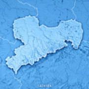 sachsen bundesland germany 3d render topographic map blue border poster