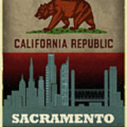 Sacramento City Skyline State Flag Of California Art Poster Series 023 Art Print