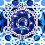 Sacred Geometry Blue Shapes Background Art Print