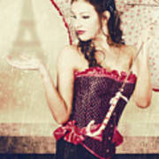 Sad French Pin-up Woman. Loss In The City Of Love Art Print