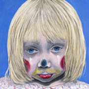Sad Little Girl Clown Art Print