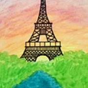 Saffron Sunset Over Eiffel Tower In Paris-watercolour  Art Print