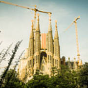 Sagrada Familia With Catalonia's Flag Art Print
