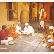 Saibaba Serves Food To Village People Art Print