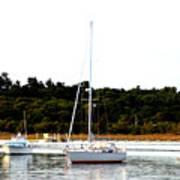 Sail Boat At Anchor  Art Print