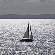Sail Boat In A Sea Of Diamonds  Art Print
