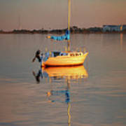 Sail Boat In Roanoke Sound 1x2 Ratio Photo Painting Img_3969 Art Print