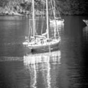 Sail Boat Yaht Parked At Harbor Bay Art Print