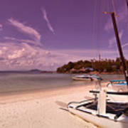 Sail Boats On Tropical Beach Art Print