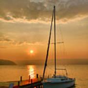 Sailboat And Sunrise Art Print