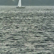 Sailboat And Waves, Piscataqua River, Maine 2004 Art Print