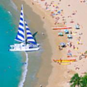 Sailboat At Waikiki Art Print