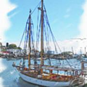 Sailboat Docked In Camden Art Print