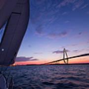 Sailboat Sailing Sunset On The Charleston Harbor  Print by Dustin K Ryan