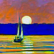 Sailboat With Moonlight Art Print