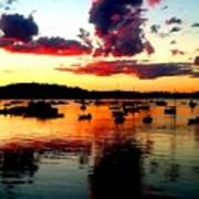 Sailboats And Sunset Sky In Hingham, Ma Art Print