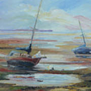 Sailboats At Low Tide Near Nelson, New Zealand Art Print