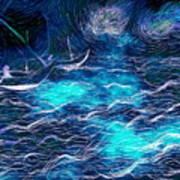Sailboats In A Storm Art Print