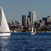 Sailboats In Seattle Art Print