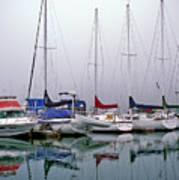 Sailboats In The Fog Art Print
