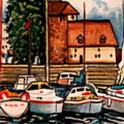 Sailboats In The Harbor Art Print