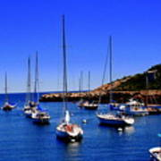 Sailboats Moored In Rockport Harbour. Art Print